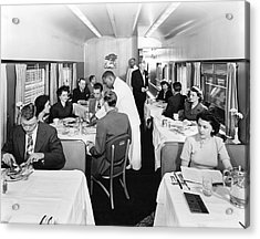 Passengers Dining On Train Acrylic Print by Underwood Archives