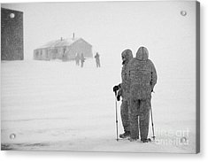 Passengers From Expedition Ship On Shore Excursion To Whaler's Bay Antarctica Acrylic Print by Joe Fox