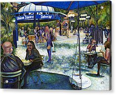 Passionate People Playing In The Park Acrylic Print by Gaye Elise Beda