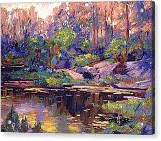 Pastel Lake At Dawn Acrylic Print by David Lloyd Glover