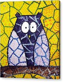 Patchwork Owl - Purple Acrylic Print by Stacey Clarke