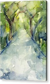 Path Conservatory Garden Central Park Watercolor Painting Acrylic Print by Beverly Brown Prints