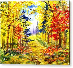 Path To The Fall Acrylic Print by Irina Sztukowski