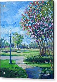 Path With Flowering Trees Acrylic Print by Vanessa Hadady BFA MA