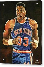 Patrick Ewing New York Knicks Acrylic Print by Michael  Pattison
