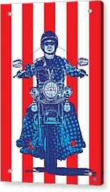 Patriotic Cycle Rider Acrylic Print by Gary Grayson