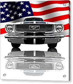 Patriotic Ford Mustang 1966 Acrylic Print by Gill Billington