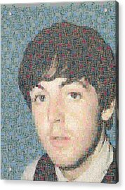 Paul Mccartney Mosaic Image 1 Acrylic Print by Steve Kearns