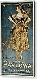 Pavlova, Anna 1882-1931. Poster Acrylic Print by Everett