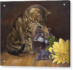 Paw In The Vase Acrylic Print by Lucie Bilodeau