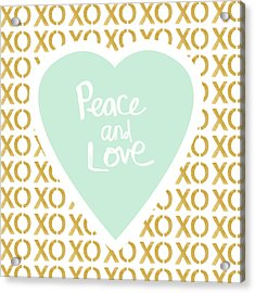 Peace And Love In Aqua And Gold Acrylic Print by Linda Woods