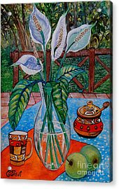 Peace Lilies On The Patio Acrylic Print by Caroline Street