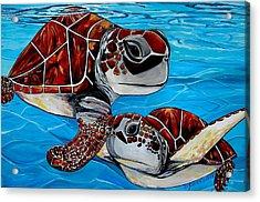 Peace Love And Turtles Acrylic Print by Patti Schermerhorn