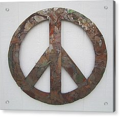 Peace Sign From Pieces Recylced Metal Wall Sculpture Acrylic Print by Robert Blackwell