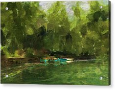 Peaceful Pond Painterly Version Acrylic Print by Carla Parris