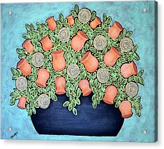 Peach Blossoms And Licorice Swirls Acrylic Print by Stewalynn Art