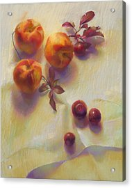 Peaches And Plums Acrylic Print by Cathy Locke