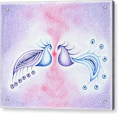 Peacock Dance Acrylic Print by Keiko Katsuta