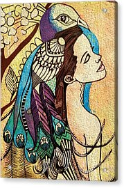 Peacock Woman Acrylic Print by Amy Sorrell