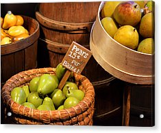 Pears - 15 Cents Per Basket Acrylic Print by Christine Till