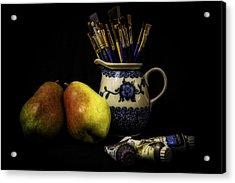 Pears And Paints Still Life Acrylic Print by Jon Woodhams