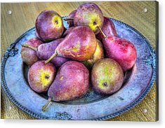 Pears On A Plate Acrylic Print by Victor Marsh