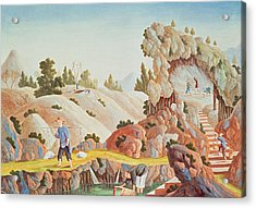 Peasants Quarrying And Collecting Kaolin For A Porcelain Factory Acrylic Print by Chinese School