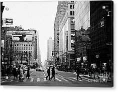Pedestrians Crossing Crosswalk On West 34th Street And Sixth 6th Avenue At Herald Square New York Acrylic Print by Joe Fox