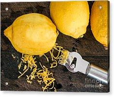 Peeling Lemon Rind To Add Zest Acrylic Print by Frank Bach
