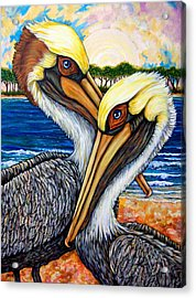 Pelican Pair Acrylic Print by Sherry Dole