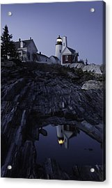 Pemaquid Point Lighthouse At Night In Maine Acrylic Print by Keith Webber Jr