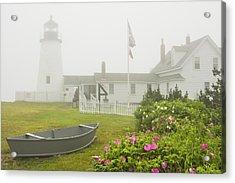 Pemaquid Point Lighthouse In Fog Maine Prints Acrylic Print by Keith Webber Jr