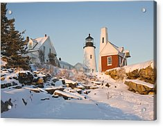 Pemaquid Point Lighthouse Winter In Maine  Acrylic Print by Keith Webber Jr