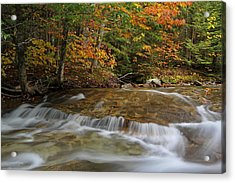 New England Acrylic Print featuring the photograph Pemigewasset River Cascades In Autumn by Juergen Roth