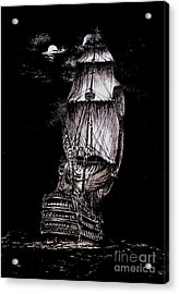 Pen And Ink Drawing Of Ghost Boat In Black And White Acrylic Print by Mario Perez
