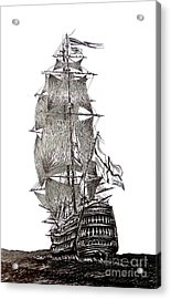 Pen And Ink Drawing Of Sail Ship In Black And White Acrylic Print by Mario Perez