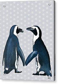 Penguins In Love Acrylic Print by Kelly McLaughlan
