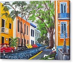 Pensando En El Viejo San Juan Acrylic Print by Luis F Rodriguez