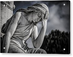 Pensive Angel At Heredia Cemetery Acrylic Print by Andres Leon