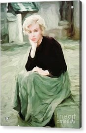Pensive Marilyn Acrylic Print by Lynne Alexander