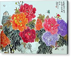 Peonies And Birds Acrylic Print by Yufeng Wang