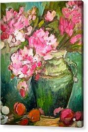 Peonies And Peaches Acrylic Print by Carol Mangano