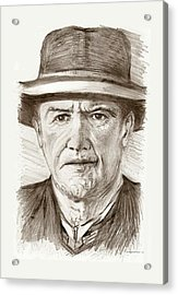 People Of Old West A Pencil Drawing In Black And White  Acrylic Print by Mario Perez
