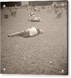 People Sleeping In The Park Acrylic Print by Beverly Brown Prints