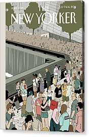 People Visit The 9/11 Memorial Acrylic Print by Adrian Tomine
