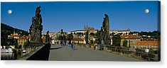 People Walking On A Bridge, Charles Acrylic Print by Panoramic Images