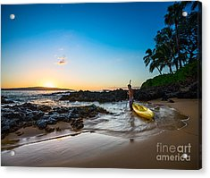 Perfect Ending - Beautiful And Secluded Secret Beach In Maui Acrylic Print by Jamie Pham