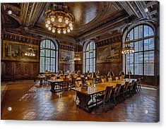 Periodical Room At The New York Public Library Acrylic Print by Susan Candelario