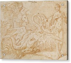 Perseus Rescuing Andromeda Red Chalk On Paper Acrylic Print by or Zuccaro, Federico Zuccari