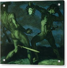 Perseus Turns Phineus To Stone By Brandishing The Head Of Medusa Acrylic Print by Franz von Stuck